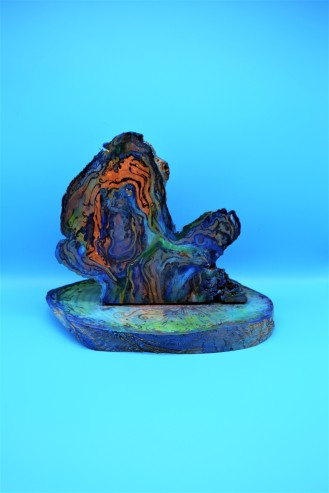 Kirsty Dalton- Small sculpture blue Background